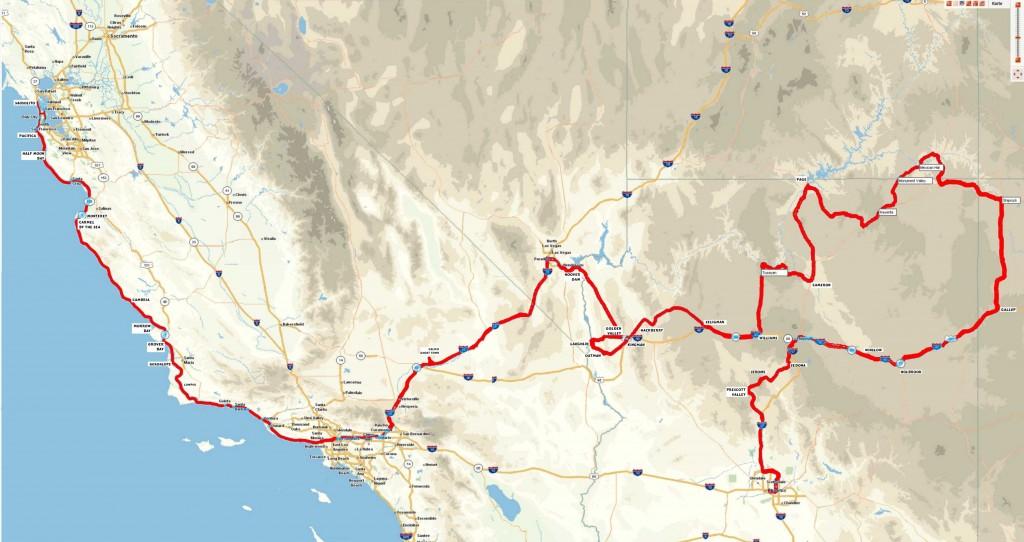 Die geplante Strecke unserer Tour